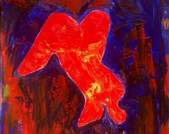 Abstract Kneeling Nude In Red and Blue Limited Edition Quality Canvas Print