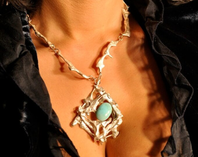 Stunning Silver and Turquoise One Of A Kind Unique Necklace, Irish designer, Made in Ireland, Diamond Shape, Semi Precious Statement