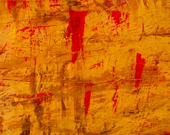Blood On The Plains, Red, Brown, Yellow, Abstract Landscape Art Photo Print, Warm, Gallery & Collector Quality, 75 Years Lifespan