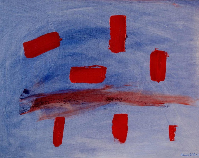 Abstract Rectangular Red Blocks Swirling In A Blue Sky, Limited Edition Canvas Print Ready To Hang On Your Wall