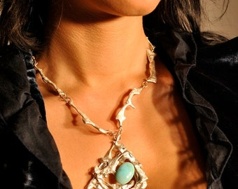Stunning Silver and Turquoise One Of A Kind Unique Necklace, Made by Irish designer, Made in Ireland