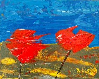 2 Red Poppies, Yellow green Landscape Blue sky, wild flowers, Abstract art, Irish Art, Gallery & Collector Quality, 75 Years Lifespan