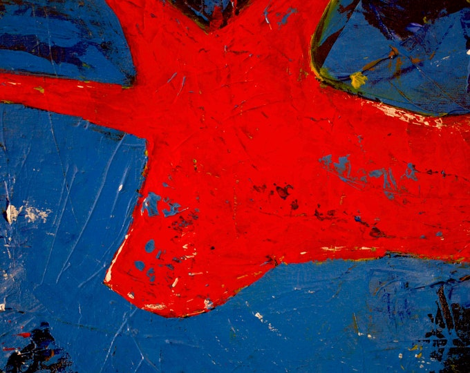 Colourful Blue Abstract Painting,Nude, Erotic, Naked Woman, Open Edition Ferrari Red Art Print, Gallery Quality, 75 years Lifespan.
