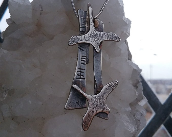 Textured Silver Saoirse Freedom Birds Pendant with Ogham inscription, Ancient, Celtic, Oxidized, Suitable for Teenager, Unisex