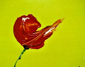 Red Poppy 3, White, Green, Lime Colour, Bright Flower Print, Colourful Art, Cheerful Happy Soul Painting, Gallery Collector Quality Edition