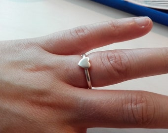 Sterling Silver Handmade Heart Ring, Elegant, Simple designer ring, Free Shipping