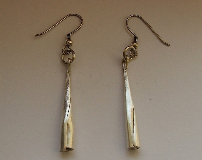 Cone shaped Silver Drop Earrings,boho long and thin earrings, light, slender, Celtic, Irish Made, Free shipping