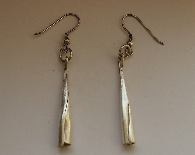 Thin Cone shaped Silver Drop Earrings,boho long and thin earrings