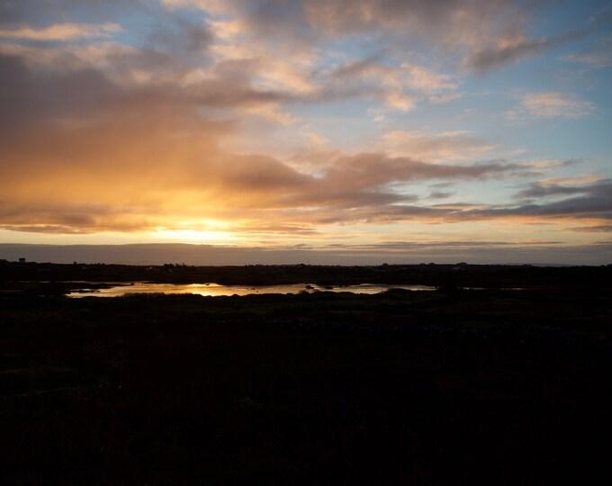 Sunrise Over Frozen Lake, West Of Ireland, Connemara, Home Office Decor