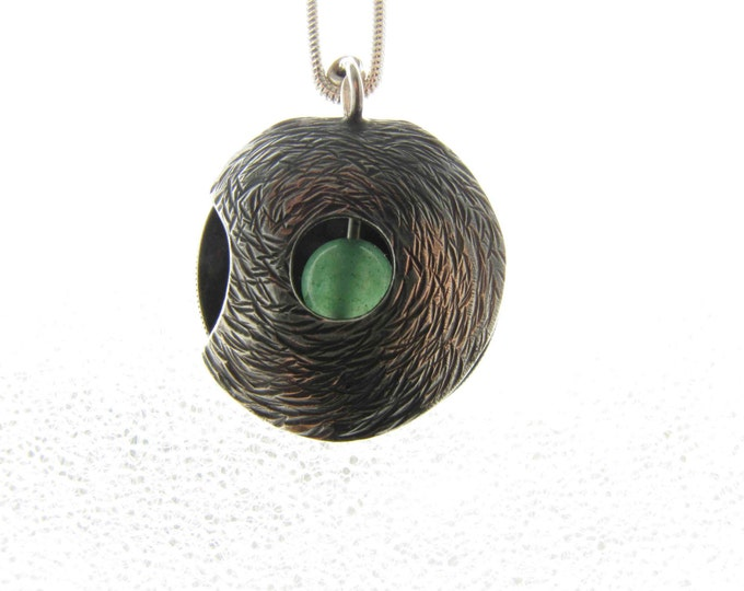 Circular Oxidized Medieval Silver Textured Pendant with Green Onyx