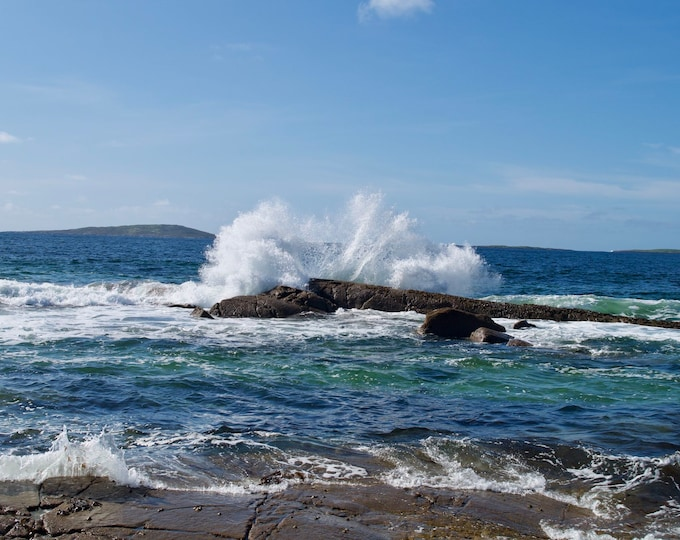 Art Wave 6, Connemara Wild Atlantic Way Wave, Blue Sky, Sea, White Surf, Limited Edition Islands Photo