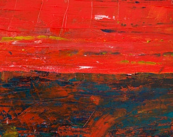 Voyager 2, Abstract Red Painting, Warm, blue, Yellow, White, Vibrant colours Photo Print, Special Edition, Gallery & Collector Quality
