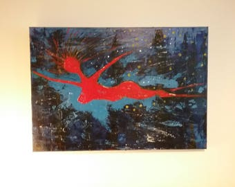 Erotic Nude Red Swimmer Painting