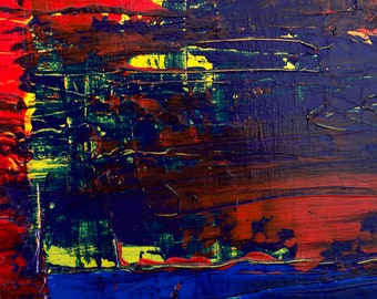 Fire Of Underworld 3, Blue, Yellow, Red, Warm Abstract Art Print, Gallery and Collector Quality, 75 Years Lifespan.