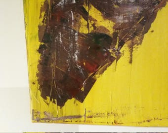 Erotic Nude African Woman Yellow Brown abstract  Painting