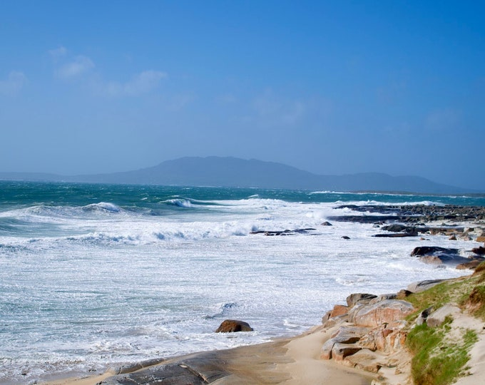 Wild Atlantic Ocean Storm, Mountains, White Surf, Blue Sky, Waves, Rocks, Limited Edition Photo