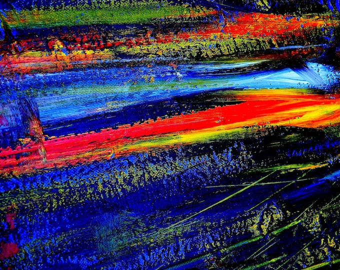 Meteorite, Vibrant, Red, Blue, Abstract Art Painting, 75 Years Lifespan, Gallery Quality, Open Edition, Irish Artist, made In Ireland
