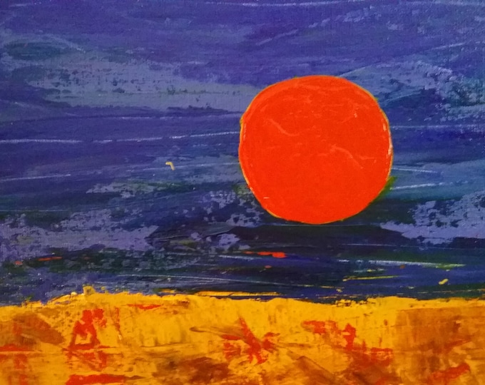 Sunset in an Abstract Background, Spanish Sun, Blue Sky, Red sun, Landscape, Large Warm Painting