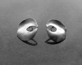Shell Earrings, circular, Ethnic,Boho, Irish Made, Irish Designer, Celtic, Made in Ireland, Hammered Silver