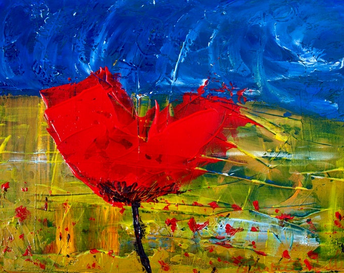 Red Poppy Dark Blue Sky, Abstract Landscape, Yellow, Green, Passionate, Vibrant Colored Print, Gallery & Collector Quality 75 Years Lifespan