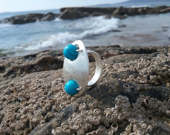 Sterling Silver Oval Turquoise Statement Powerful Ring