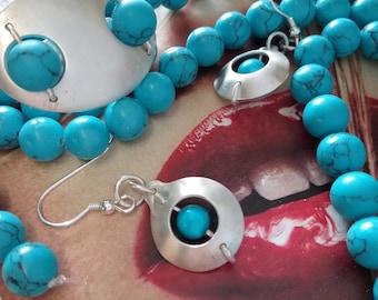 Silver Circular Turquoise Drop Boho Earrings