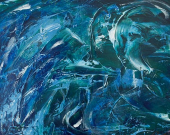 Water Cascade 1 Blue, Green, White, Tranquil, Calm, Soothing Painting Print, Gallery & Collector Quality, 75 Years Lifespan.