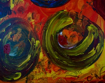 Happiness 2, Sensual, Erotic, Love, Warmth, Red, Green, Blue, Yellow Gallery & Collector Quality, 75 years Lifespan Special Edition