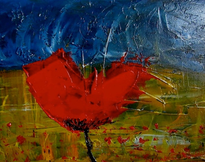 Red Poppy in Yellow Field and Dark blue sky painting, Irish Art, Powerful Painting, Connemara Artist