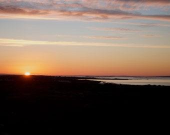 White Sun Sunrise, Dawn Photo, Connemara, Ready to Hang Photo, Wall Decor, Irish Landscape
