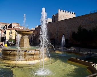 Ávila Water Fountain, Spanish Castle, Blue Skies Sunshine, Limited Edition Travel Photo