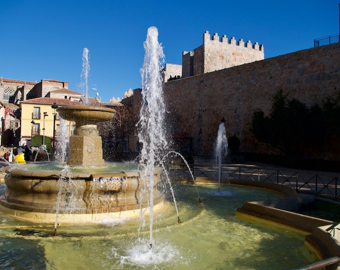 Ávila Water Fountain, Spanish Castle, Blue Skies Sunshine, Limited Edition Travel Photo