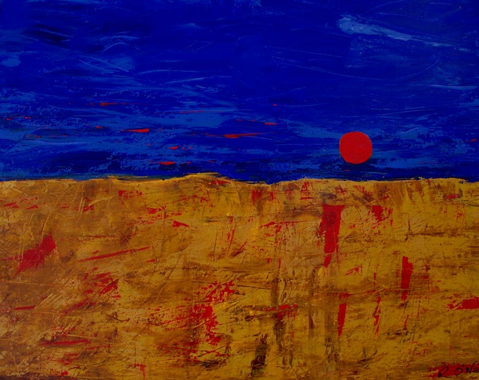 Spanish Sun, Red, Yellow, Blue Landscape Print on Fuji Crystal Pearl Paper, 75 years Lifespan, Gallery & Collector Quality