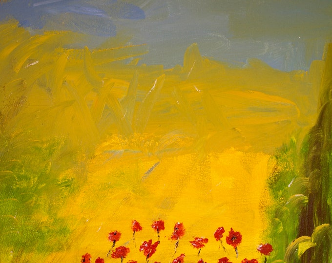 Field Of Poppies, Corn Field, Abstract Landscape, Green, Yellow, Blue, Red, Brown, Peaceful Dreamy, Calm Tranquil Print, 75 Years Lifespan