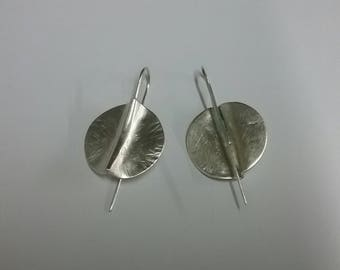 Silver Atlantic 1 Hammered Textured Circular Drop Earrings by Ruairí O'Neill