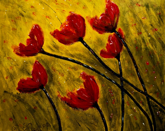 Poppies Blowing In The Wind, Wild Flowers, Corn, Red, Yellow, Black, Yellow, Print, Irish Art, Gallery & Collector Quality 75 Years Lifespan