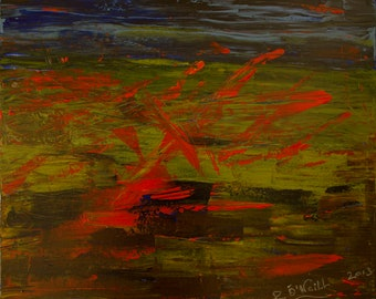 Battle Of Waterloo, War Painting, Red and Green, Irish Artist,