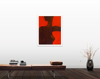 Nude, Woman, Red, Brown Painting, Irish Artist, African Painting, Colourful Wall Art, Art Print, Open Edition 75 Years Lifespan.