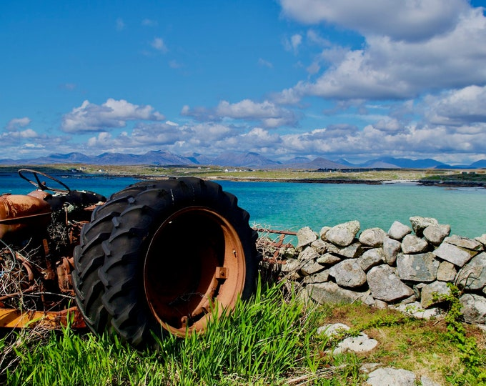 Rusted Connemara Tractor, Blue Skies, Azure Seas, Limited Edition Canvas Print, Ready to Hang