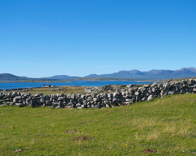 Beautiful Wild Connemara, Mountains, Atlantic Ocean, Stone Walls, Stone Ruins, Blue Sea and Sky, Green Fields, Limited Edition Photo