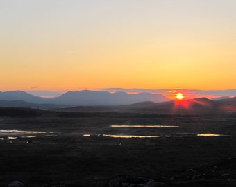 Connemara Sunrise, Mountain Mist, Lakes, Jet Trails, Red, Yellow Sky Limited Edition Photo