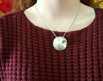 Sterling Silver Tribal Ogham Pendant with Green Aventurine Stone