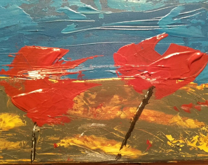 Connemara Poppy, Abstract Art, Red Painting, Blue Painting, Flower Painting, Bold Coloured Painting, Bright Colours