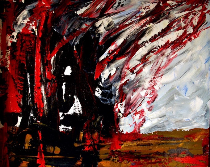 Palestine Burning, War, Fire, Explosion, Death, Red, Black, Photo Art Print, Open Edition, Gallery and Collector Quality, 75 Years Lifespan
