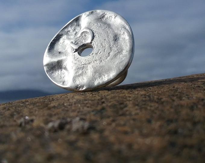 Unique Circular Powerful Statement Silver Ring, Textured, Irish Design, Chunky, Boho, Fashion, Contemporary Precious Ring