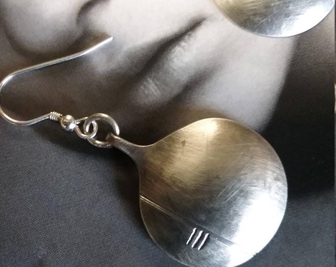Te Sterling Silver Handmade Circular Ogham Drop Earrings by Ruairí O'Neill