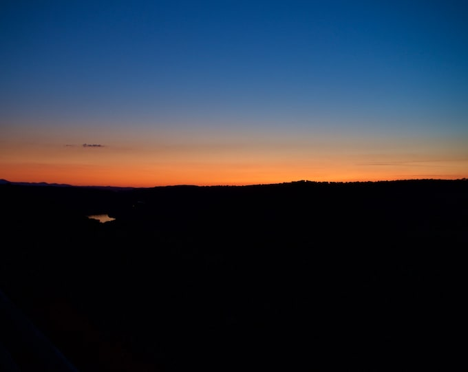 Spanish Sunset, River, España, Red,Orange, Blue,Sky, Black Landscape Photo
