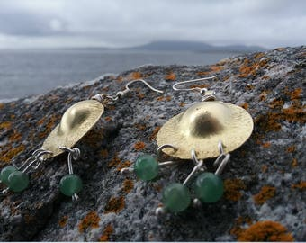 L A Style Golden Brass Earrings with Sterling Silver and Green Aventurine