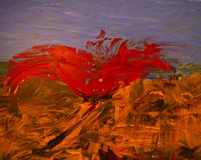 Wild Red Poppy, Cornfield Flowers, Abstract  Vibrant Print 75 Years Lifespan, Art O'Neill, Gallery & Collector Quality Limited Edition