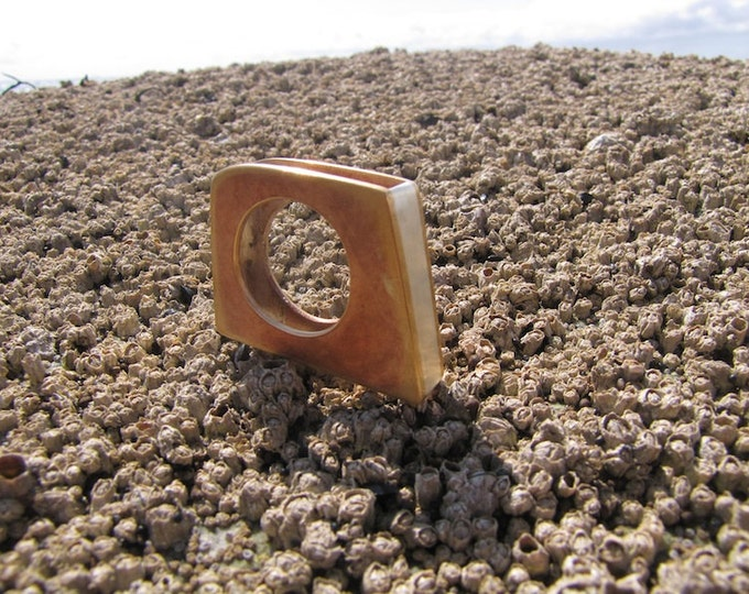 Large Silver and Bronze Rectangle Contemporary Statement Ring